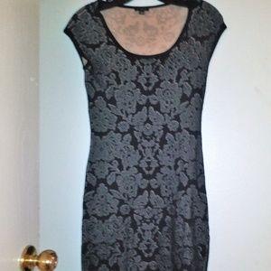 Ann Taylor Layered Lace Midi Short Sleeve Dress